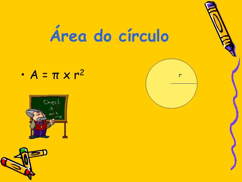Área do círculo A = π x r2 r