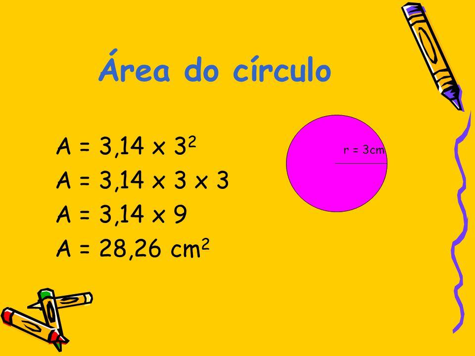 Área do círculo A = 3,14 x 32 A = 3,14 x 3 x 3 A = 3,14 x 9