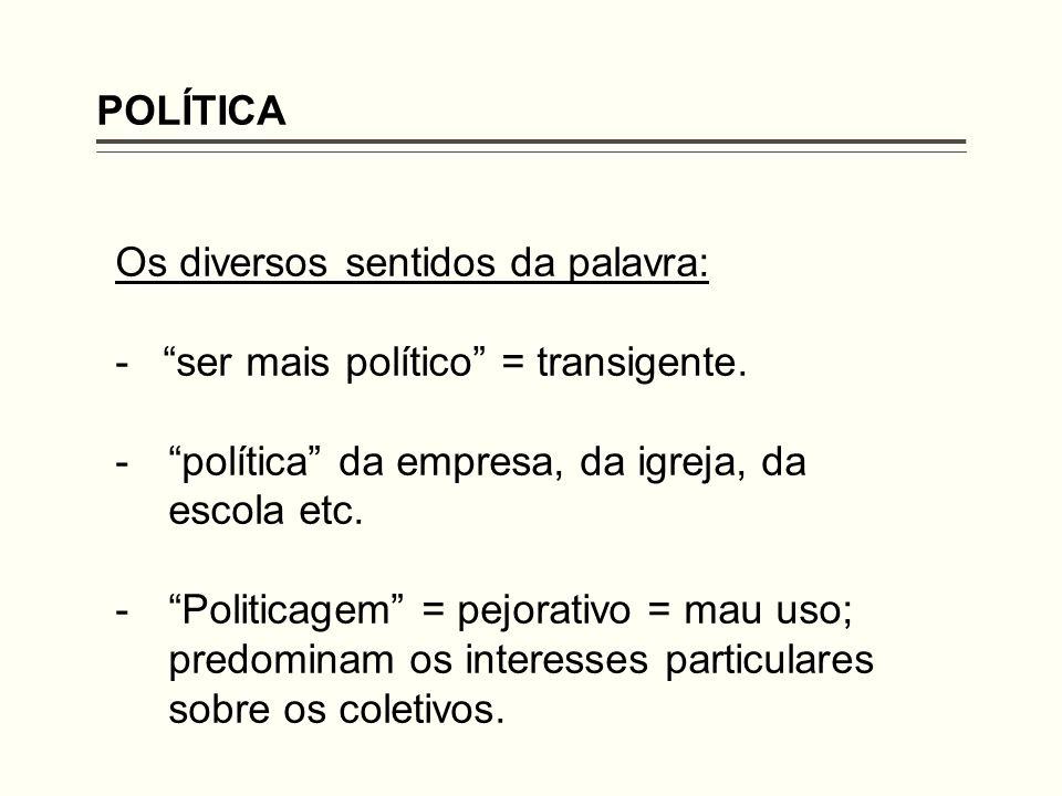 POLÍTICA Os diversos sentidos da palavra: - ser mais político = transigente. política da empresa, da igreja, da escola etc.