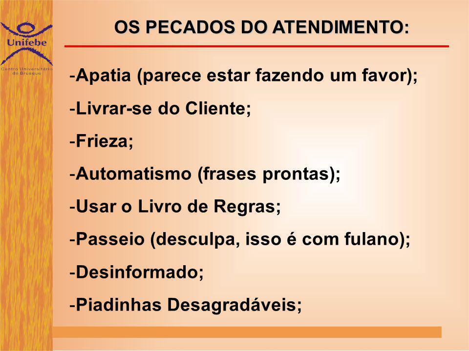 OS PECADOS DO ATENDIMENTO:
