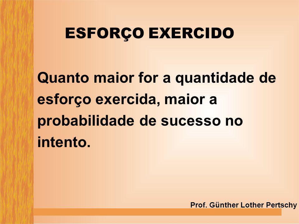 ESFORÇO EXERCIDO Quanto maior for a quantidade de esforço exercida, maior a probabilidade de sucesso no intento.