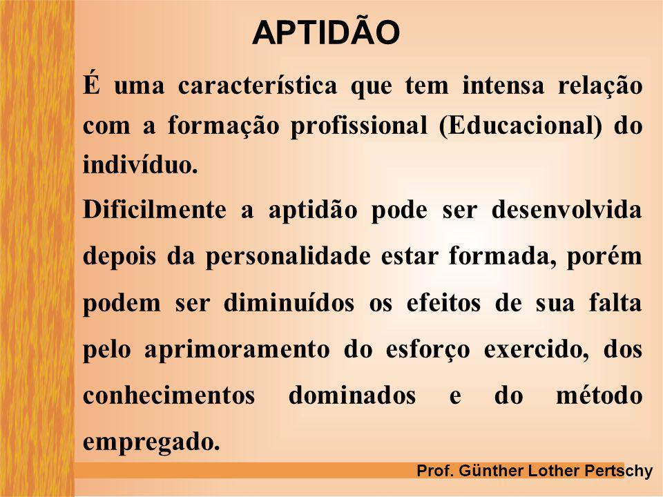 APTIDÃO É uma característica que tem intensa relação com a formação profissional (Educacional) do indivíduo.