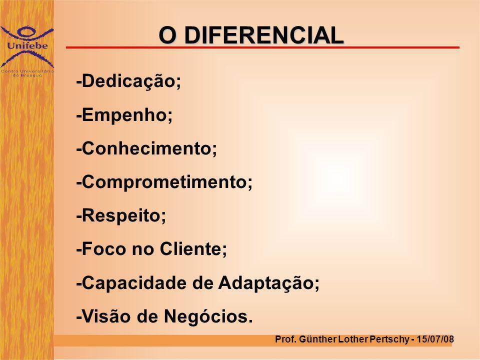 O DIFERENCIAL -Dedicação; -Empenho; -Conhecimento; -Comprometimento;