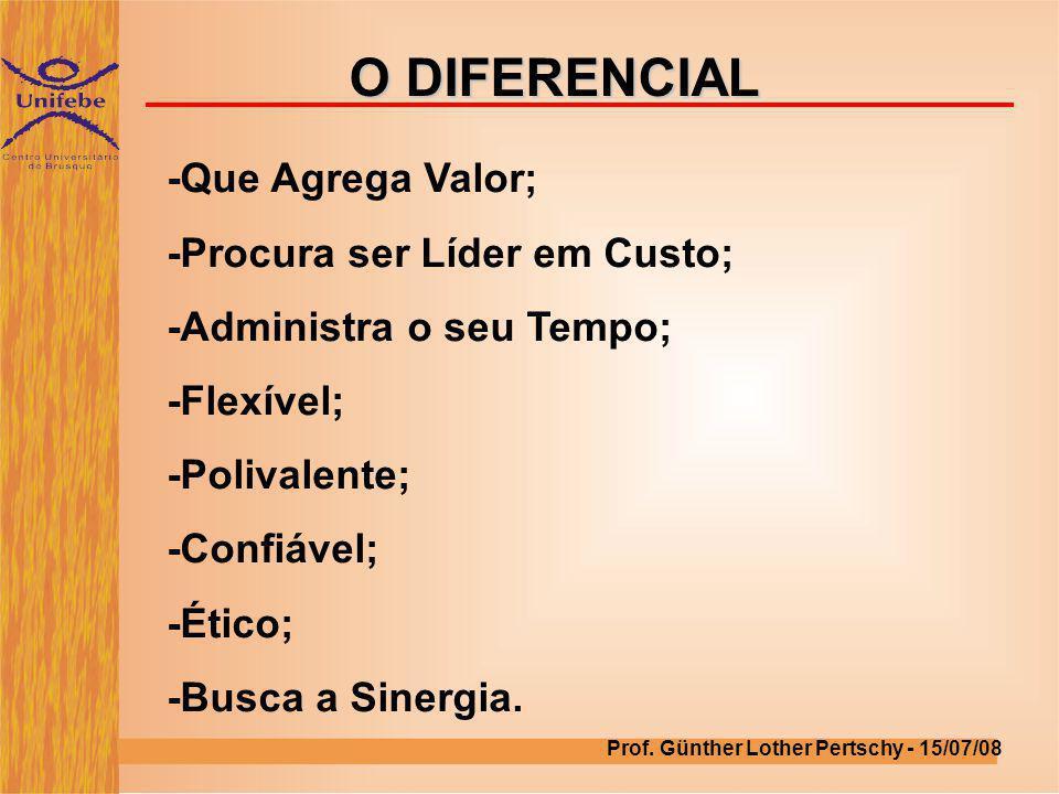 O DIFERENCIAL -Que Agrega Valor; -Procura ser Líder em Custo;