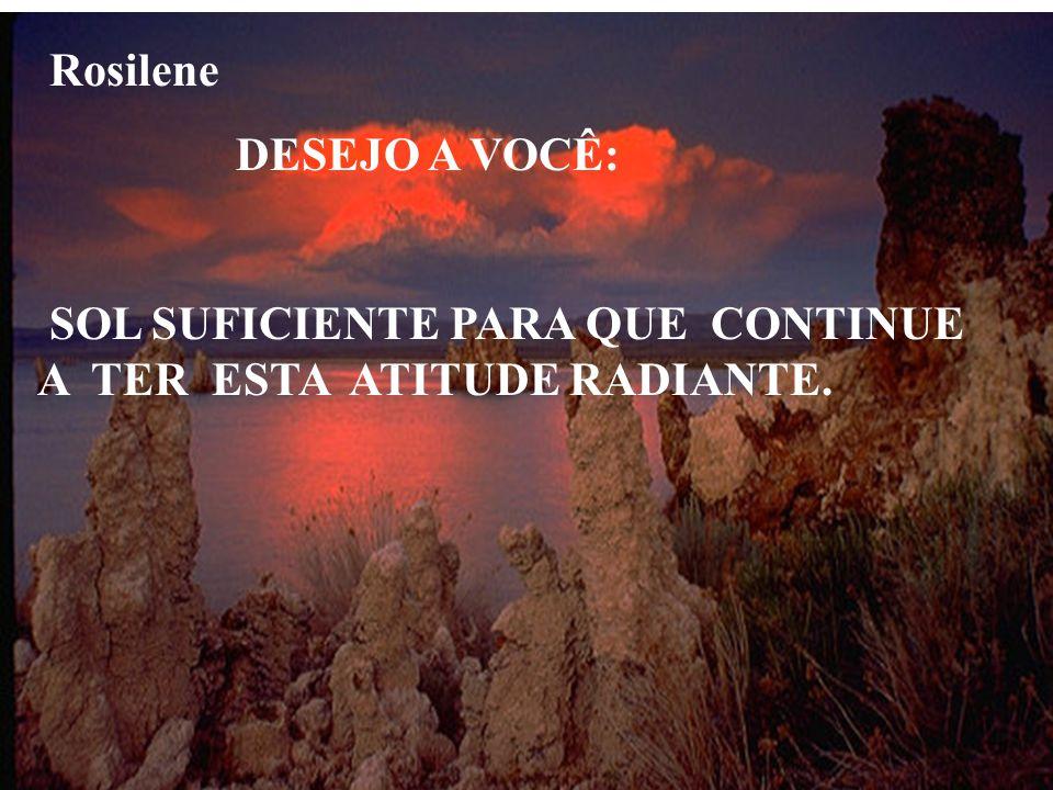 Rosilene DESEJO A VOCÊ: SOL SUFICIENTE PARA QUE CONTINUE A TER ESTA ATITUDE RADIANTE.