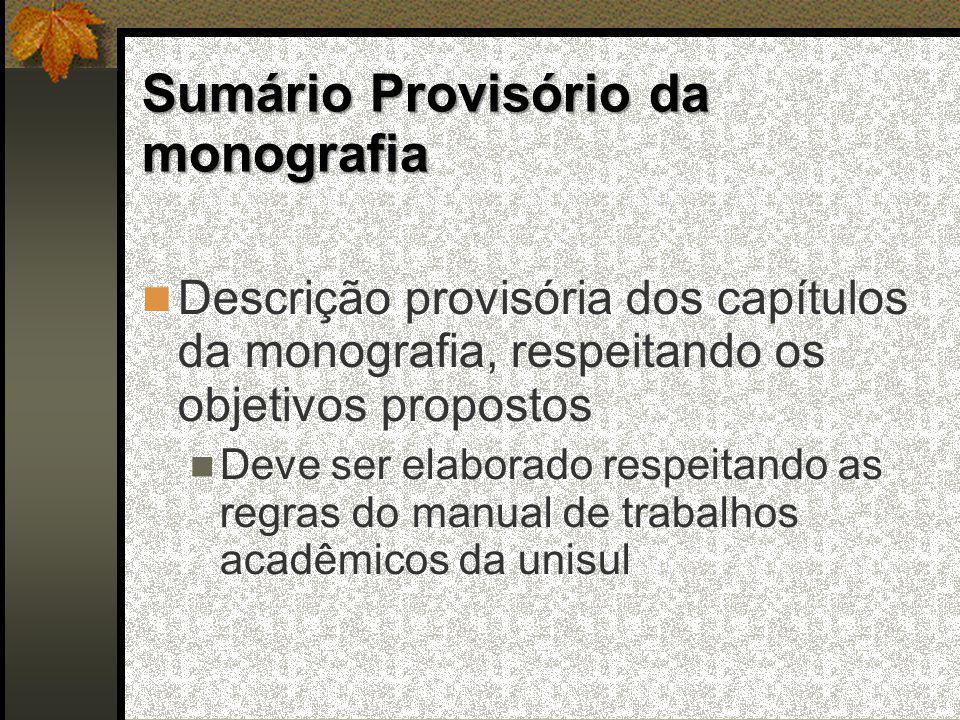 Sumário Provisório da monografia
