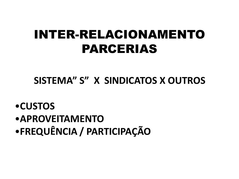 INTER-RELACIONAMENTO SISTEMA S X SINDICATOS X OUTROS