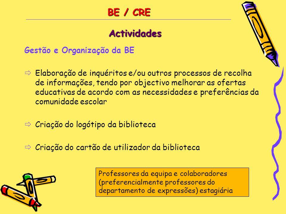 BE / CRE Actividades Gestão e Organização da BE