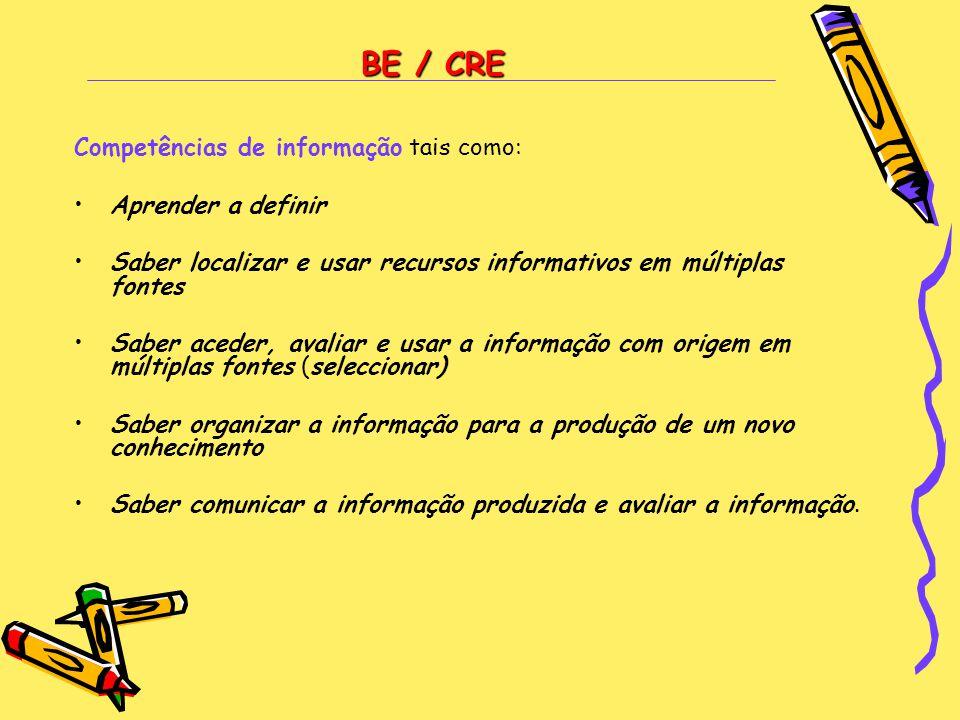BE / CRE Competências de informação tais como: Aprender a definir