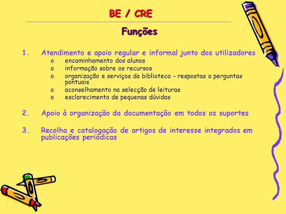 BE / CRE Funções. Atendimento e apoio regular e informal junto dos utilizadores. encaminhamento dos alunos.