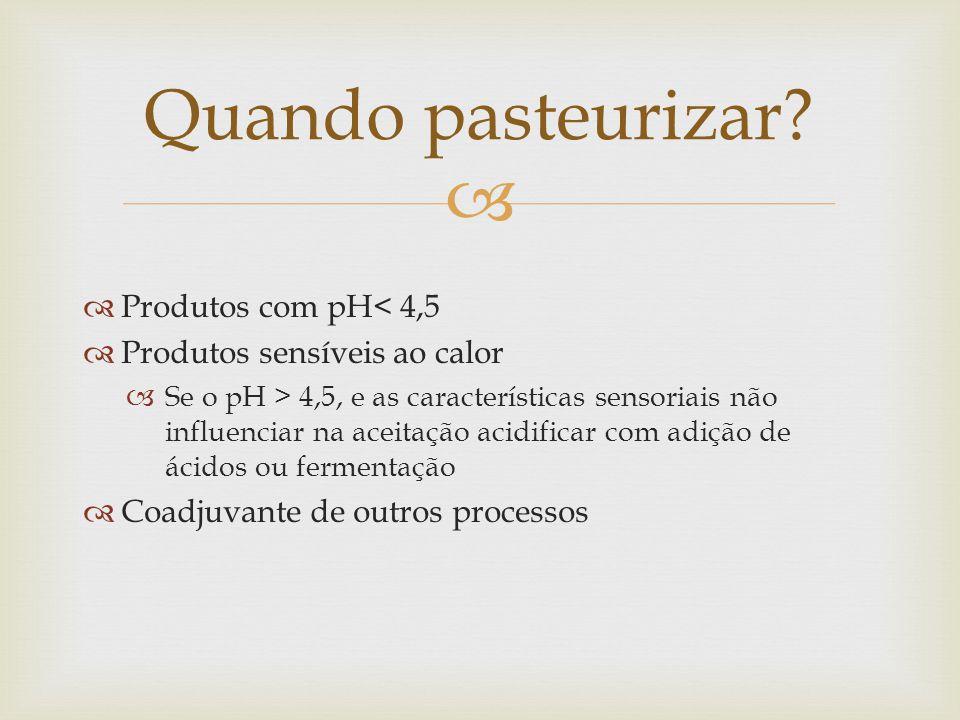 Quando pasteurizar Produtos com pH< 4,5