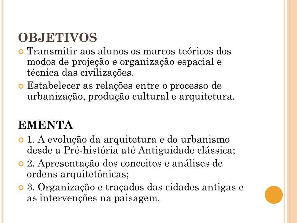 OBJETIVOS Transmitir aos alunos os marcos teóricos dos modos de projeção e organização espacial e técnica das civilizações.