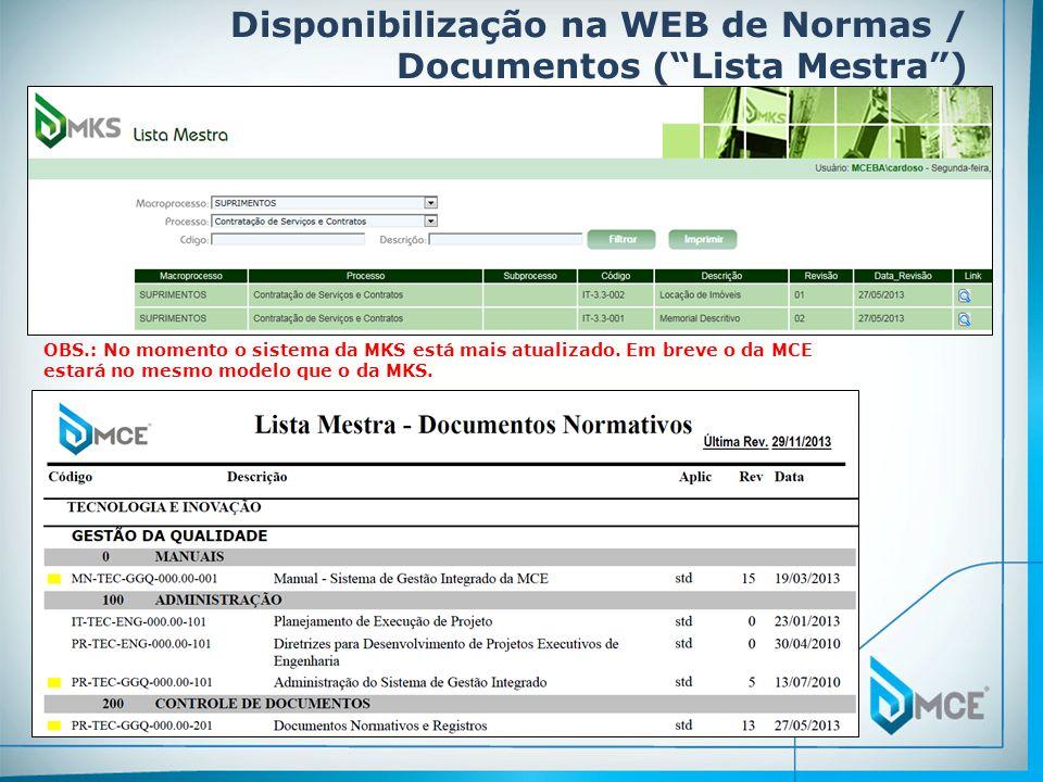 Disponibilização na WEB de Normas / Documentos ( Lista Mestra )