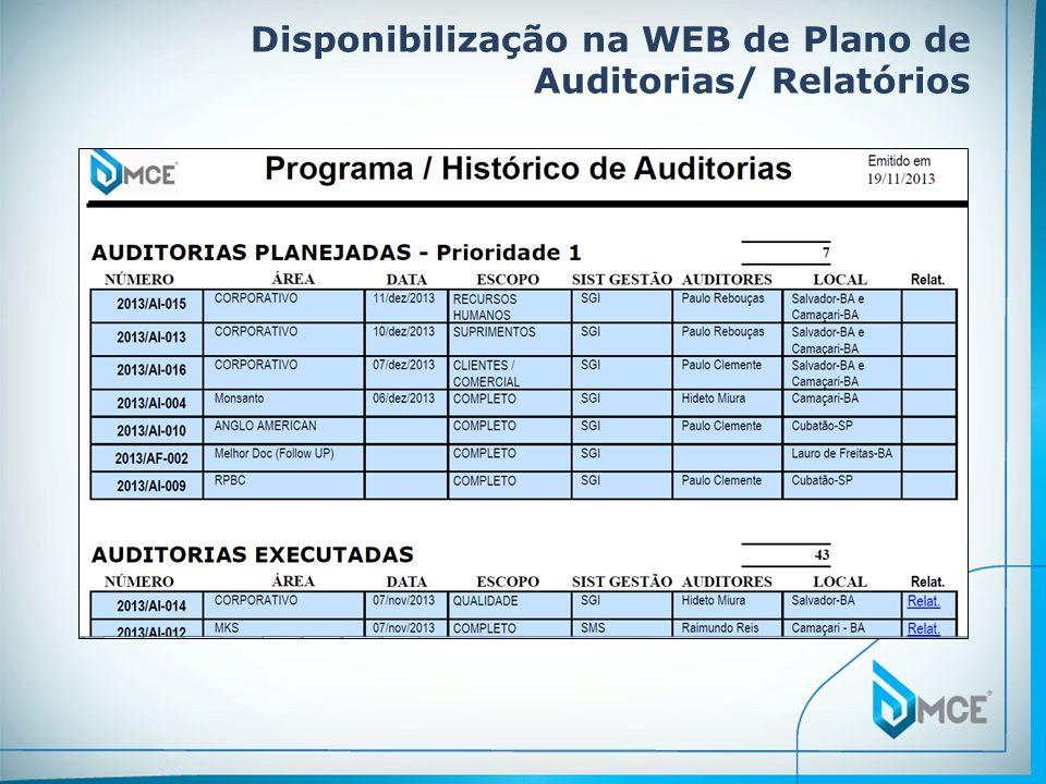 Disponibilização na WEB de Plano de Auditorias/ Relatórios