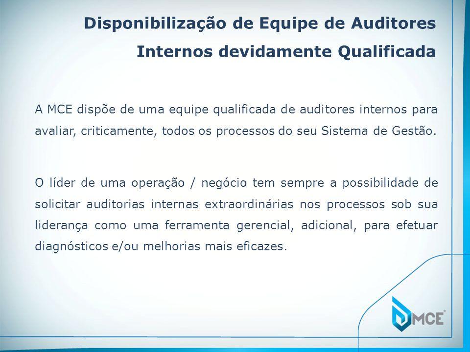 Disponibilização de Equipe de Auditores Internos devidamente Qualificada