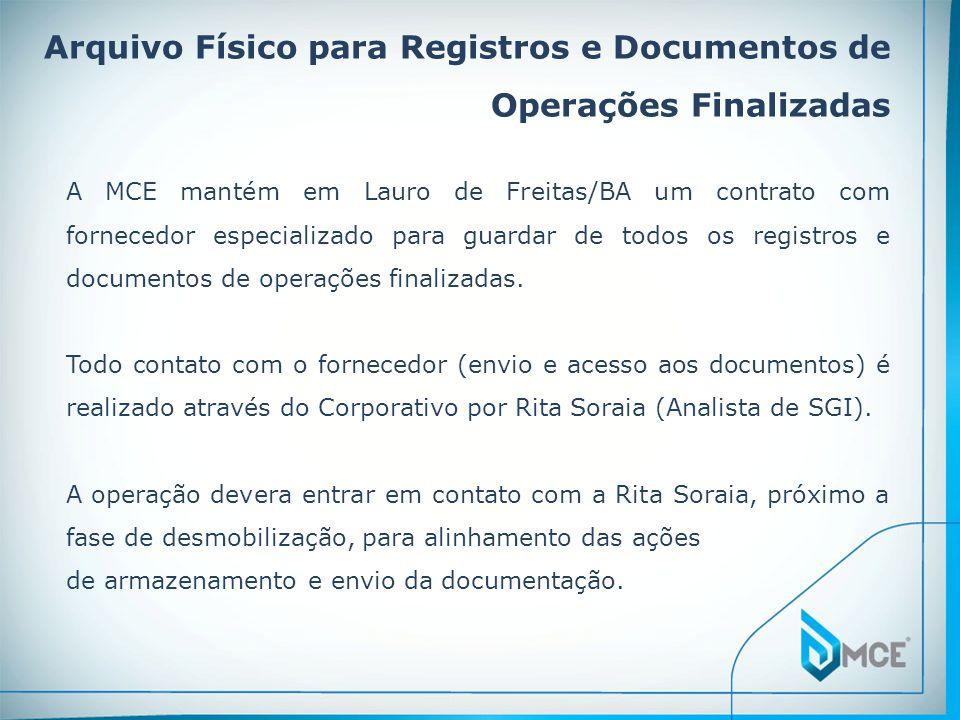 Arquivo Físico para Registros e Documentos de Operações Finalizadas