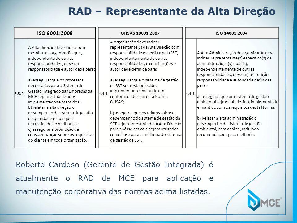 RAD – Representante da Alta Direção