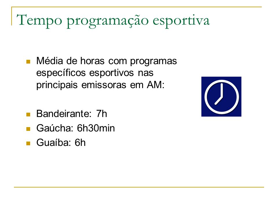 Tempo programação esportiva