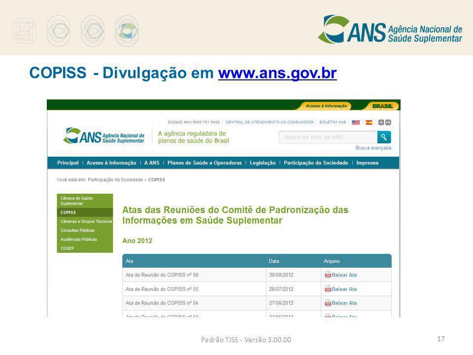 COPISS - Divulgação em www.ans.gov.br