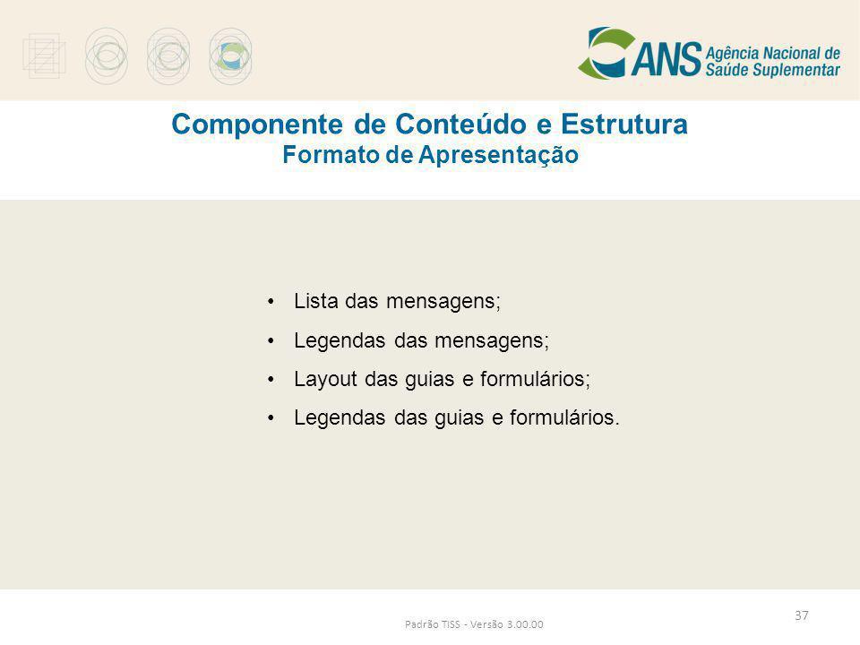 Componente de Conteúdo e Estrutura Formato de Apresentação
