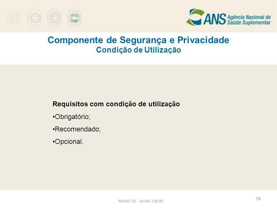 Componente de Segurança e Privacidade Condição de Utilização