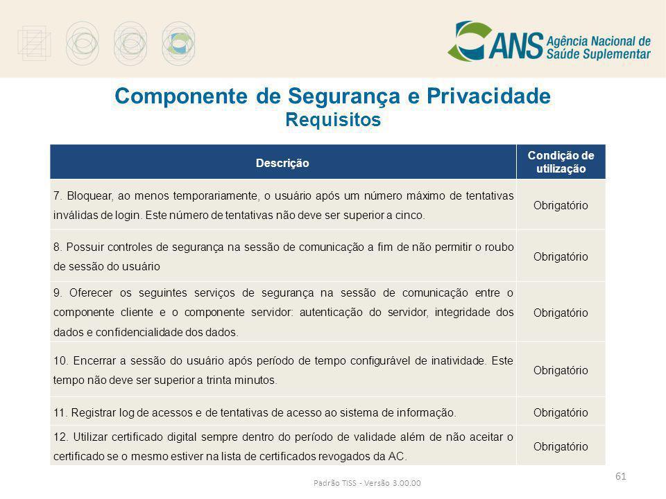 Componente de Segurança e Privacidade Requisitos