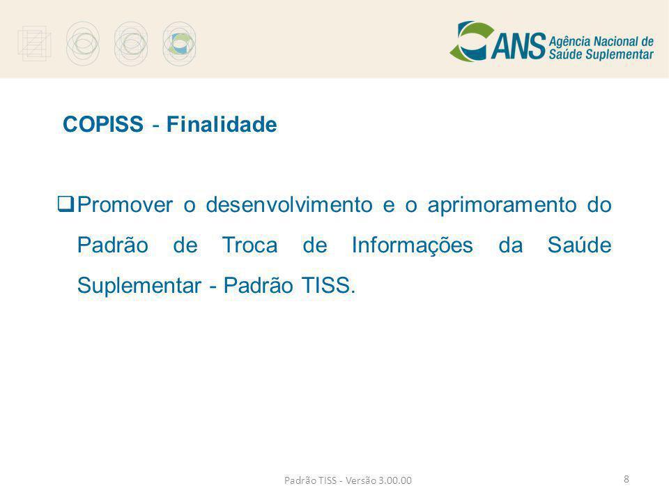 COPISS - Finalidade Promover o desenvolvimento e o aprimoramento do Padrão de Troca de Informações da Saúde Suplementar - Padrão TISS.