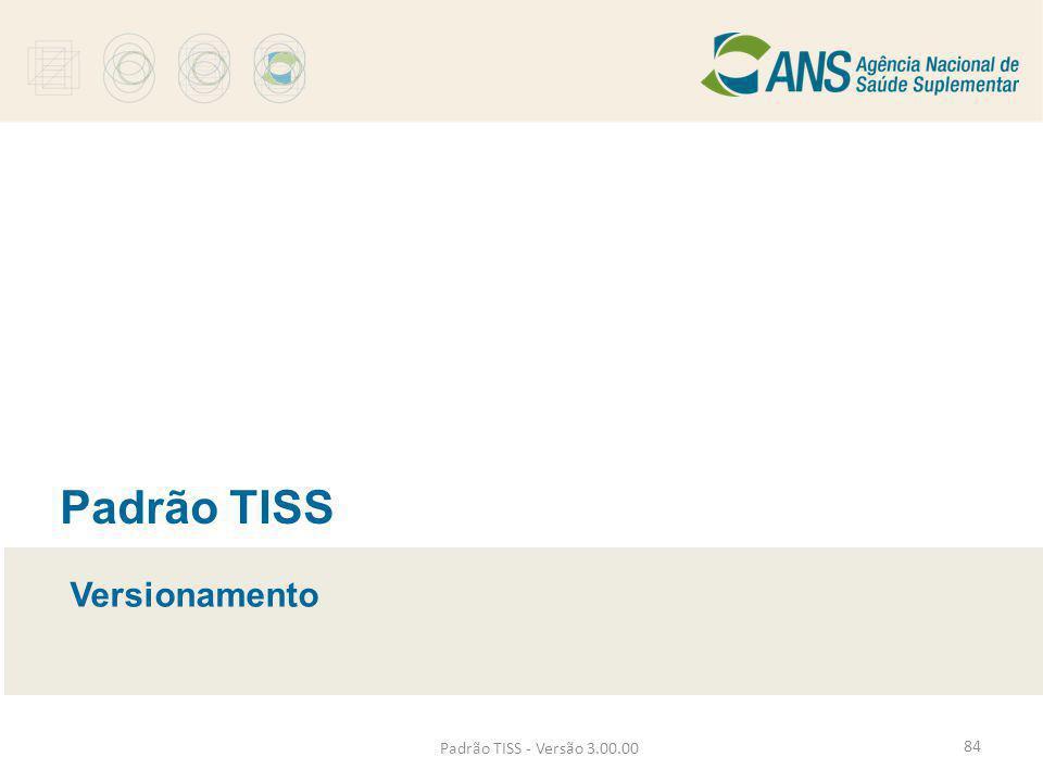 Padrão TISS Versionamento Padrão TISS - Versão 3.00.00