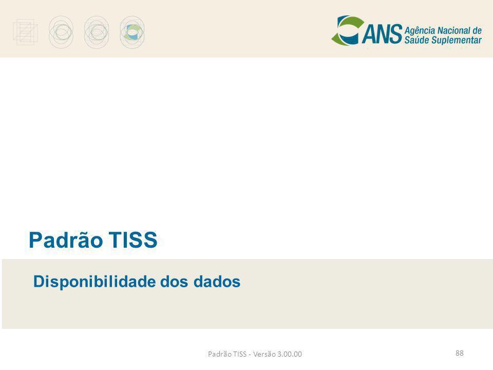Padrão TISS Disponibilidade dos dados Padrão TISS - Versão 3.00.00