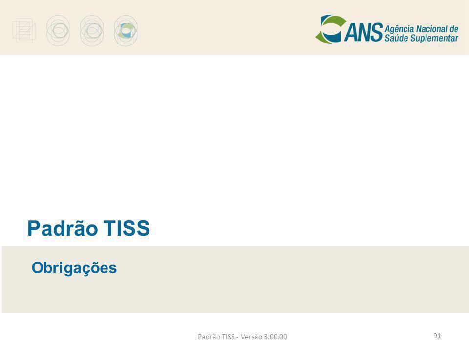 Padrão TISS Obrigações Padrão TISS - Versão 3.00.00