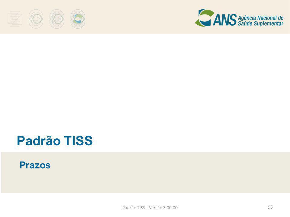 Padrão TISS Prazos Padrão TISS - Versão 3.00.00