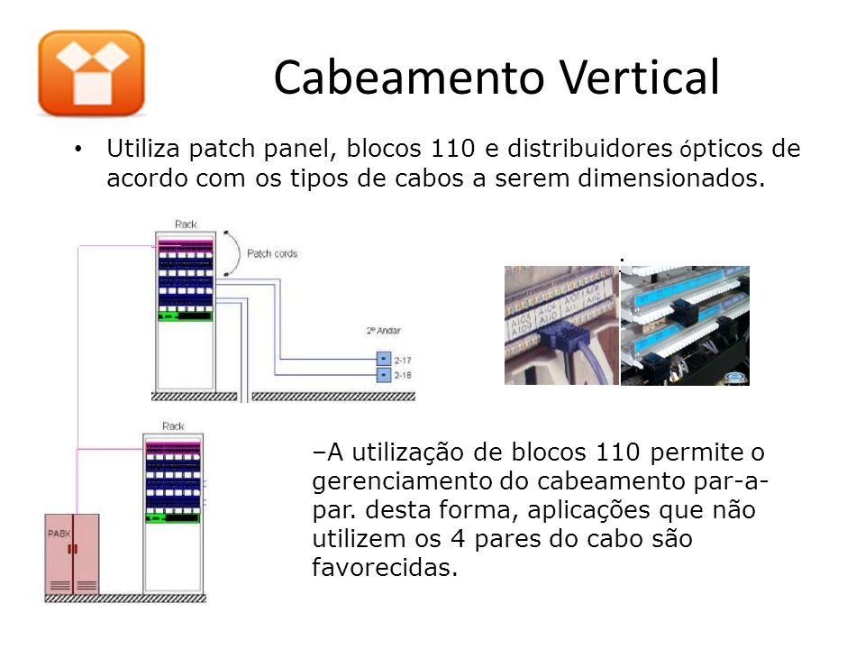 Cabeamento Vertical Utiliza patch panel, blocos 110 e distribuidores ópticos de acordo com os tipos de cabos a serem dimensionados.