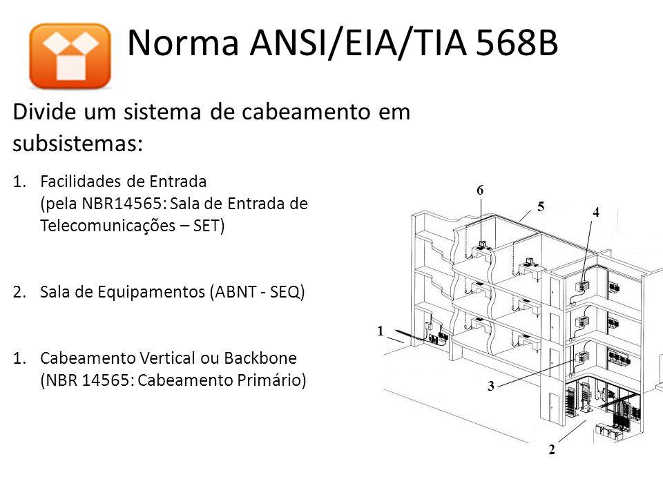 Norma ANSI/EIA/TIA 568B Divide um sistema de cabeamento em subsistemas: