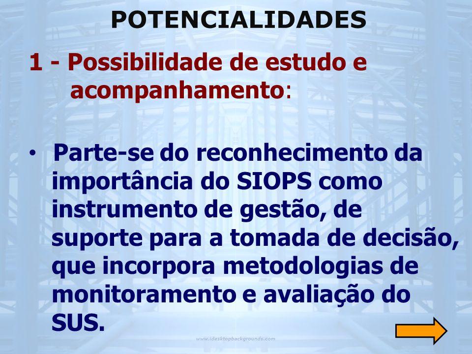 POTENCIALIDADES 1 - Possibilidade de estudo e acompanhamento:
