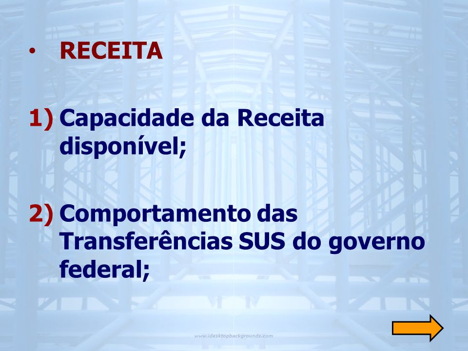 RECEITA Capacidade da Receita disponível; Comportamento das Transferências SUS do governo federal;