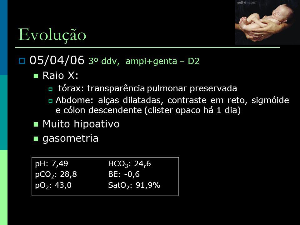 Evolução 05/04/06 3º ddv, ampi+genta – D2 Raio X: Muito hipoativo