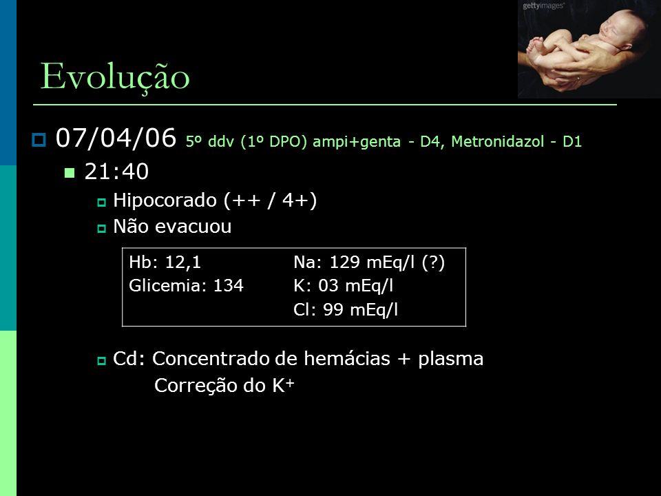Evolução 07/04/06 5º ddv (1º DPO) ampi+genta - D4, Metronidazol - D1