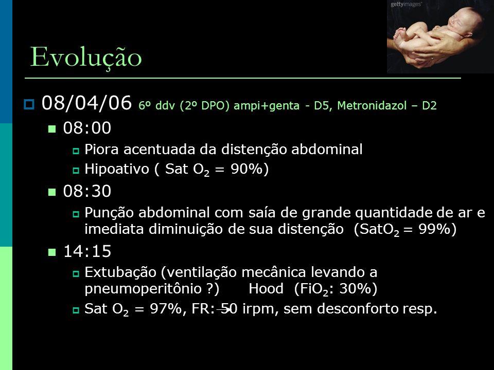 Evolução 08/04/06 6º ddv (2º DPO) ampi+genta - D5, Metronidazol – D2