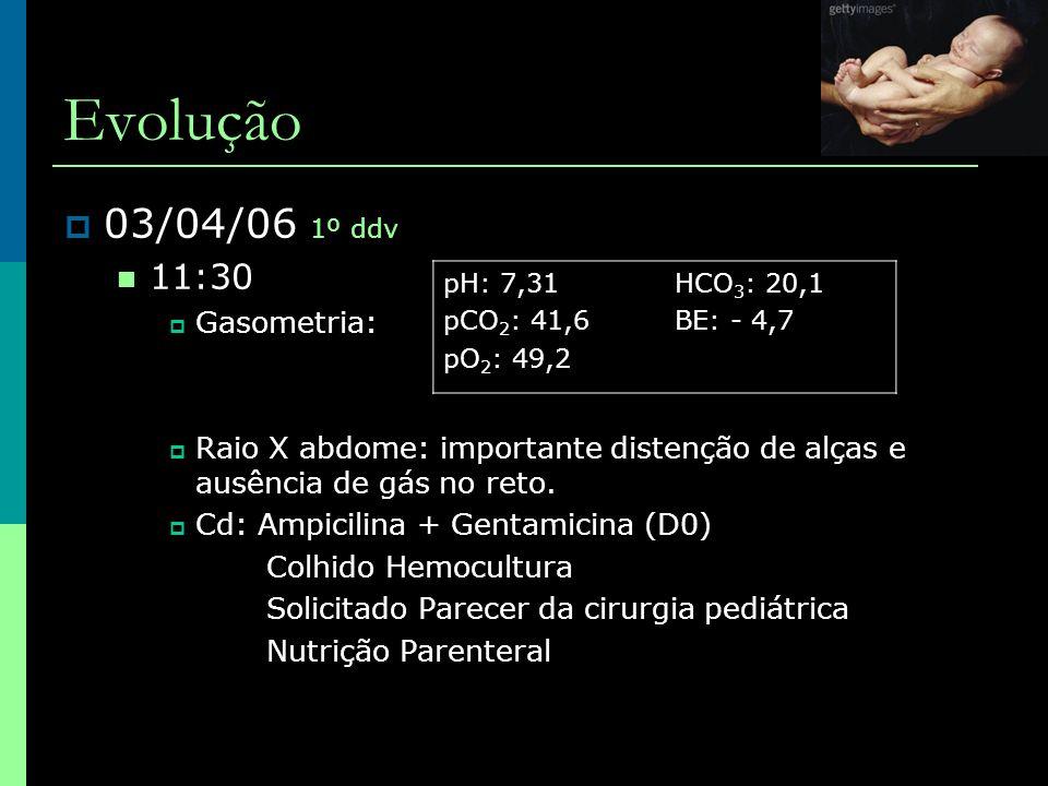Evolução 03/04/06 1º ddv 11:30 Gasometria: