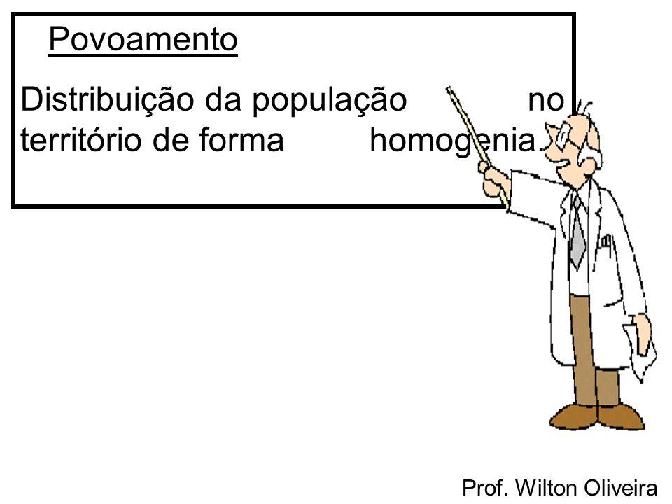 Povoamento Distribuição da população no território de forma homogenia.