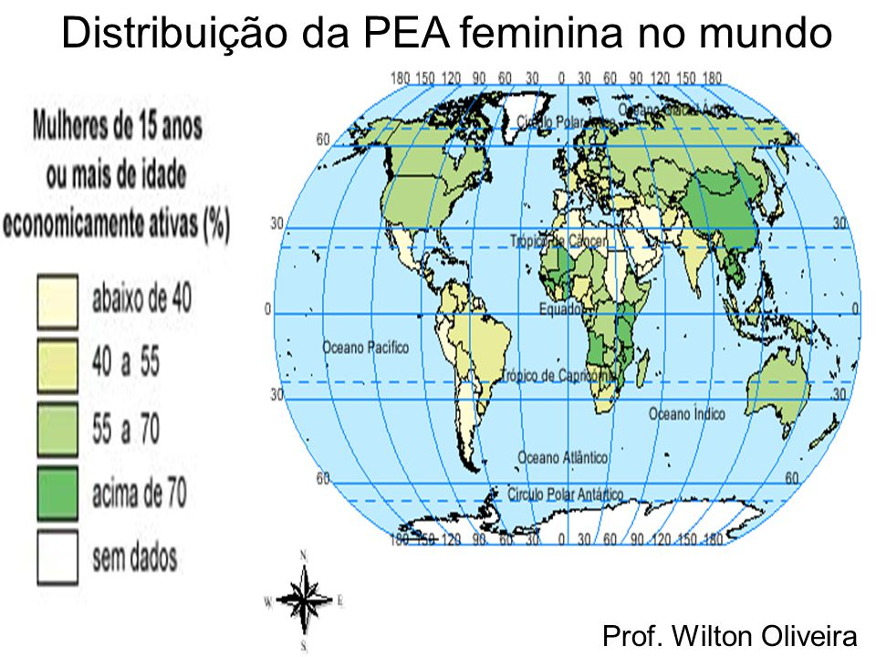 Distribuição da PEA feminina no mundo