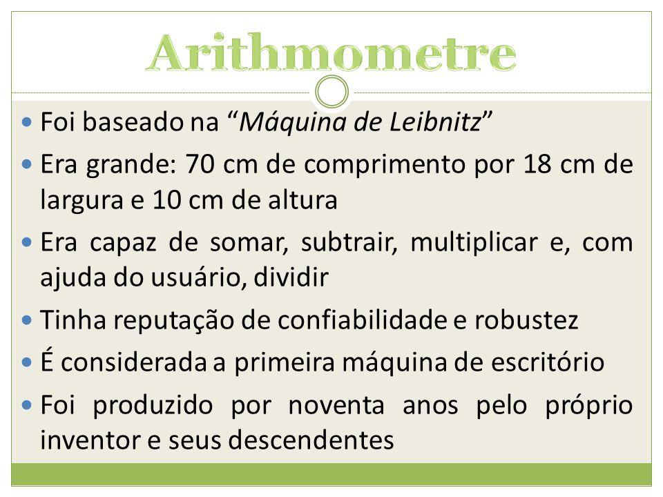 Arithmometre Foi baseado na Máquina de Leibnitz