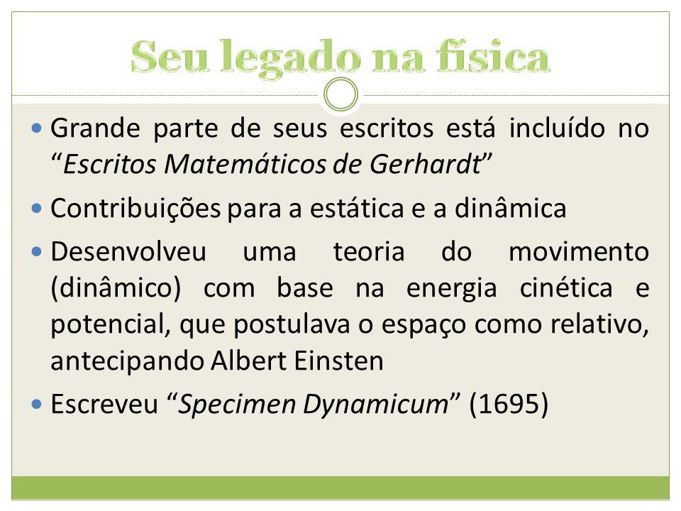 Seu legado na física Grande parte de seus escritos está incluído no Escritos Matemáticos de Gerhardt