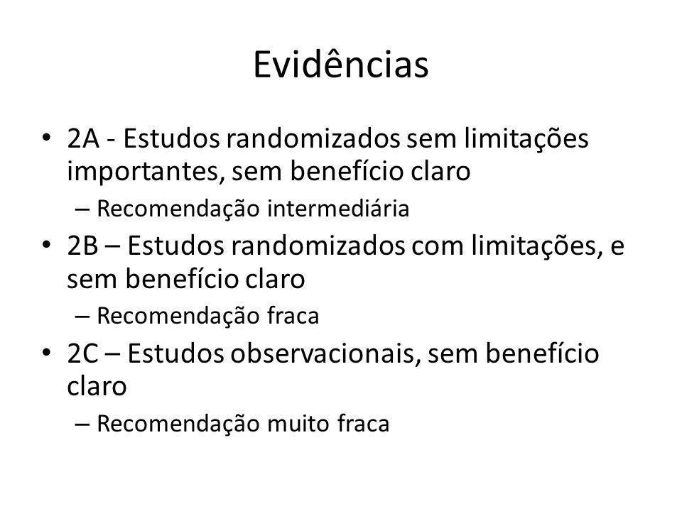 Evidências 2A - Estudos randomizados sem limitações importantes, sem benefício claro. Recomendação intermediária.