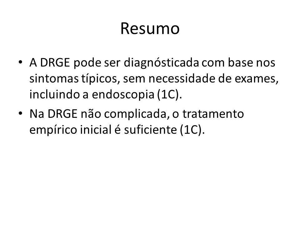Resumo A DRGE pode ser diagnósticada com base nos sintomas típicos, sem necessidade de exames, incluindo a endoscopia (1C).