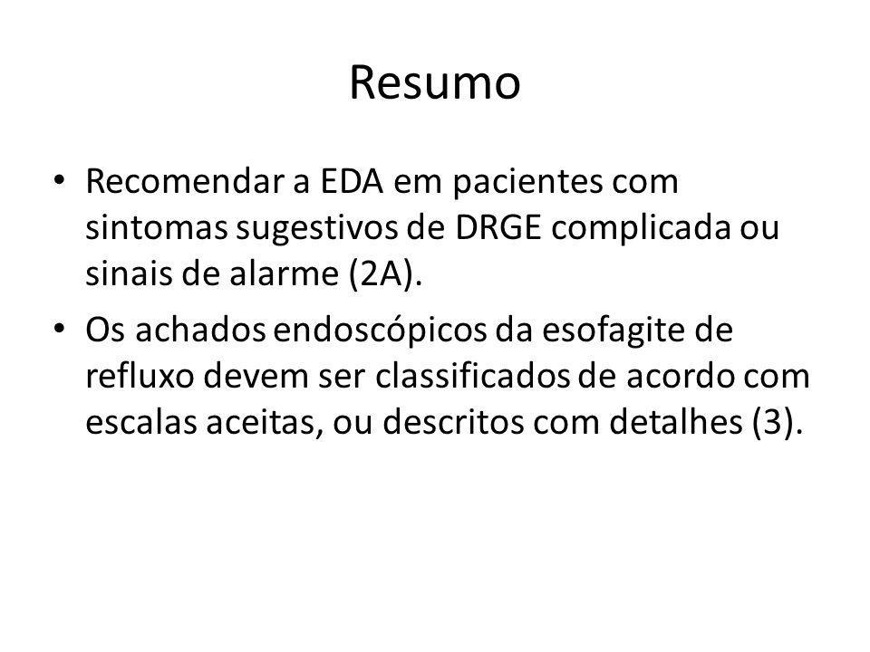 Resumo Recomendar a EDA em pacientes com sintomas sugestivos de DRGE complicada ou sinais de alarme (2A).