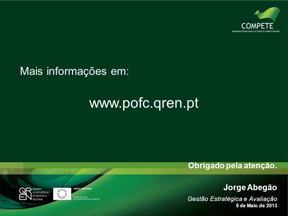 www.pofc.qren.pt Mais informações em: Obrigado pela atenção.