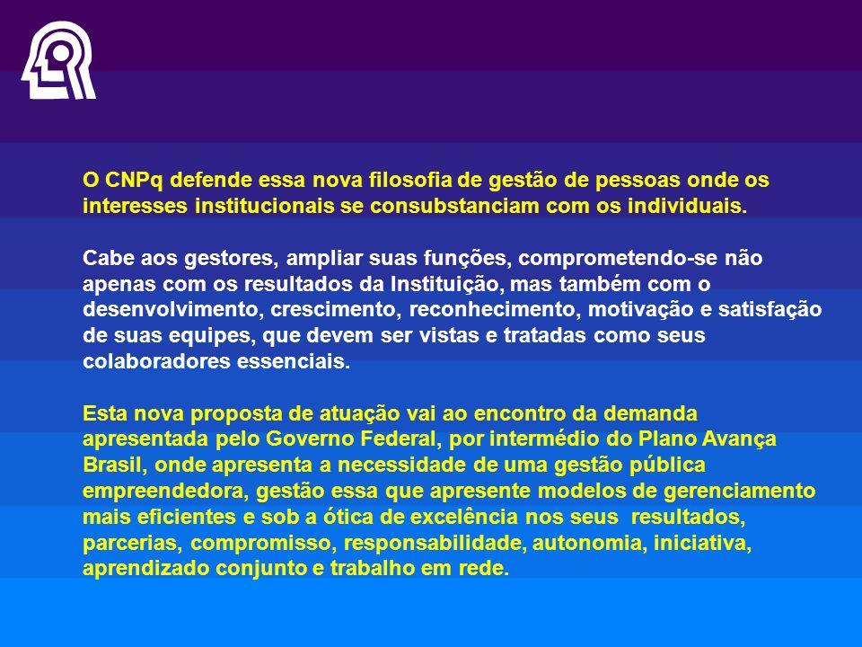 O CNPq defende essa nova filosofia de gestão de pessoas onde os interesses institucionais se consubstanciam com os individuais.