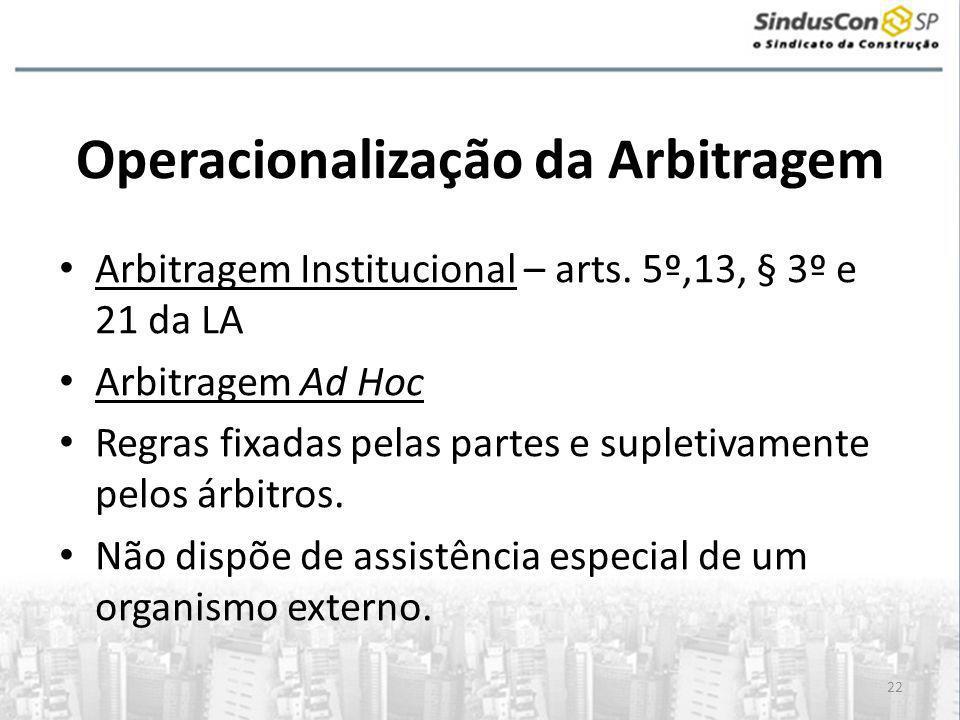 Operacionalização da Arbitragem