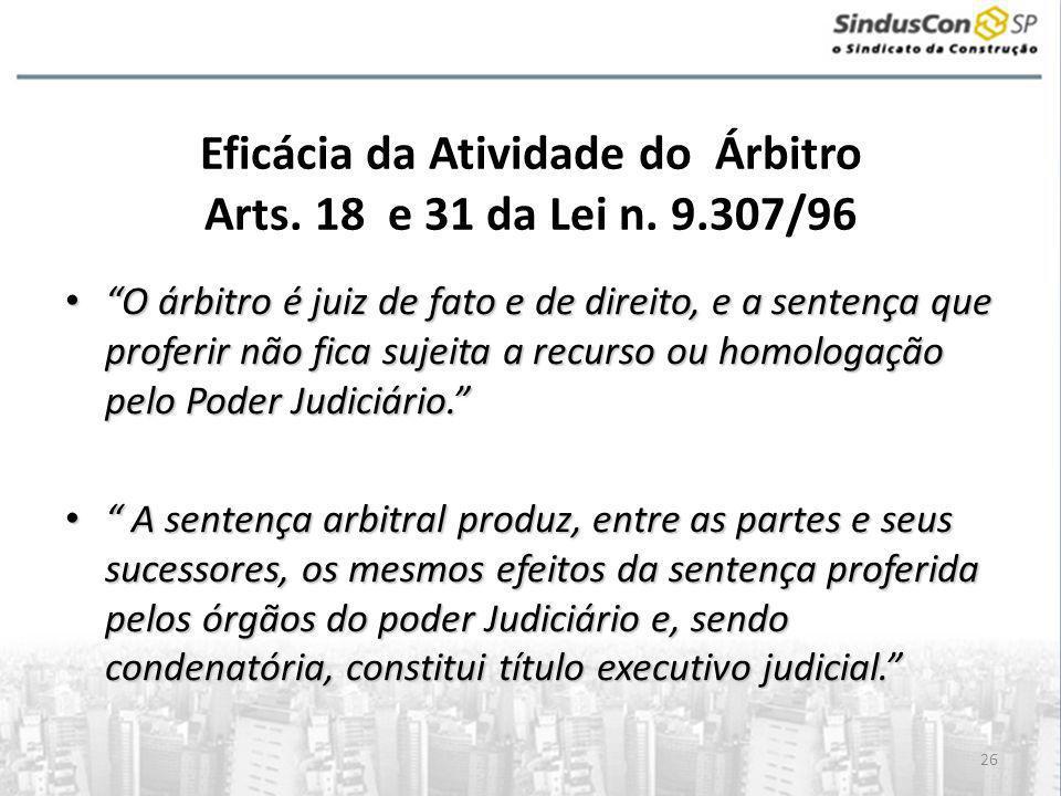 Eficácia da Atividade do Árbitro Arts. 18 e 31 da Lei n. 9.307/96